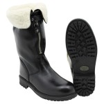 "Ital. Leather boots, ""PISTON"", shearling, black, like new"