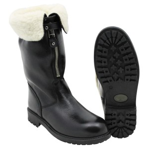 """Ital. Leather boots, """"PISTON"""", shearling, black, like new"""