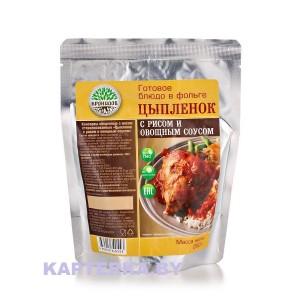 Цыпленок с рисом и овощным соусом 250 гр.